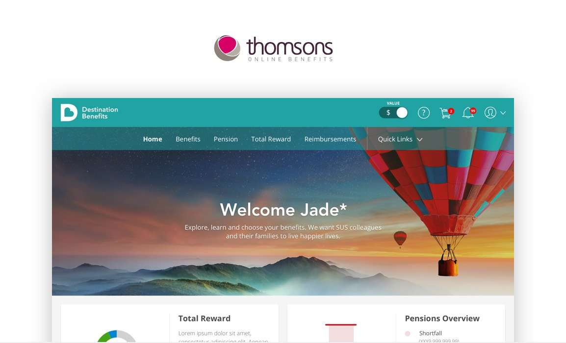 Thomsons Online Benefits UX and UI Agency